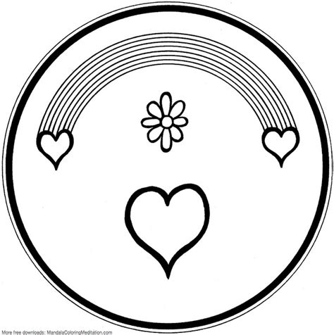 rainbow hearts coloring pages printable children coloring page rainbow heart mandala