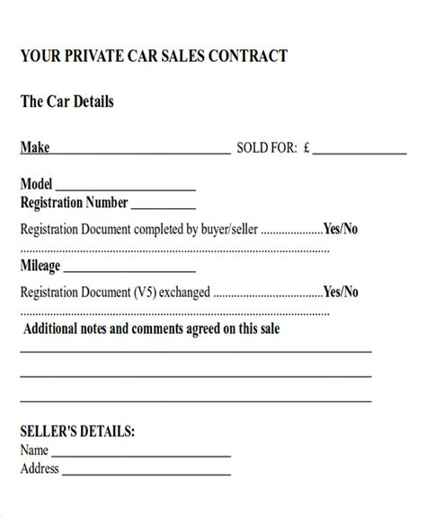 car sales contract and agreement template exles vlcpeque