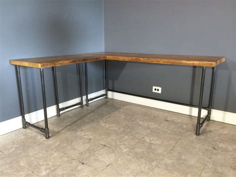 furniture reclaimed wood corner desk which furnished with