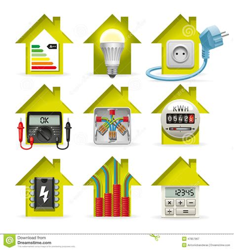 electrical supply house electricity home icons stock vector image 47857967