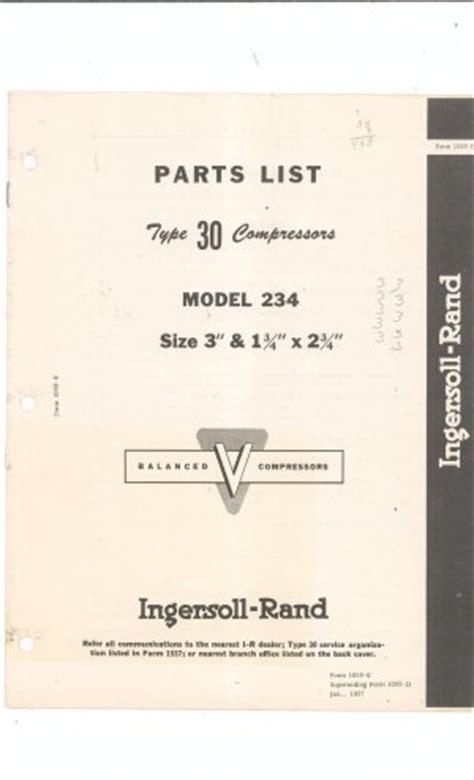 ingersoll rand type 30 compressor model 234 parts list vintage