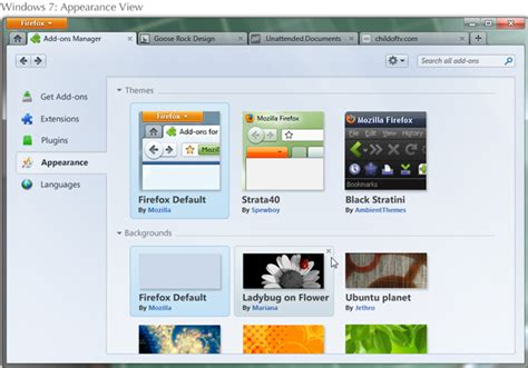 firefox appearance themes firefox 4 add ons manager ui screenshots