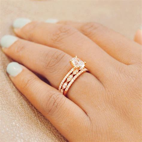 Dream Rose Gold Oval diamond Engagement Ring and matching