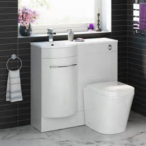 serene 900mm white curved bathroom furniture with toilet