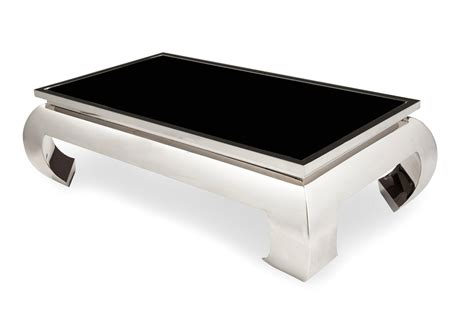 pietro ultra modern coffee table with glass top and silver