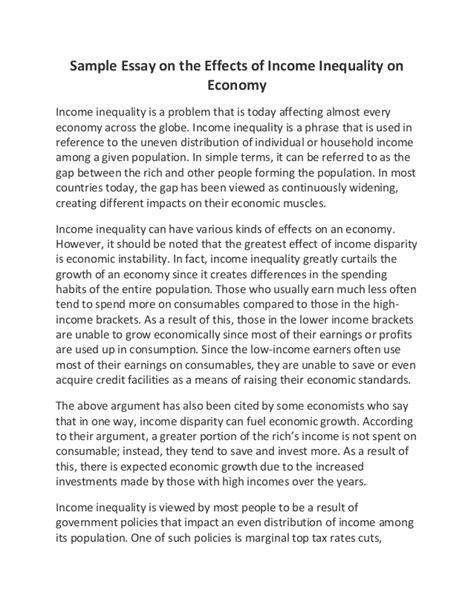 Economic Growth Essay by Sle Essay On The Effects Of Income Inequality On Economy