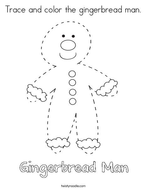 printable gingerbread man book trace and color the gingerbread man coloring page twisty