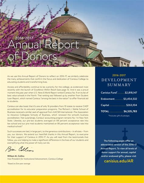 Canisius Mba Ranking by 2016 17 Annual Report Of Donors Canisius College By