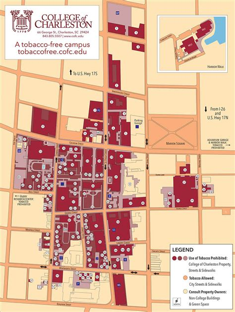 cofc cus map tobacco free cus map college of charleston