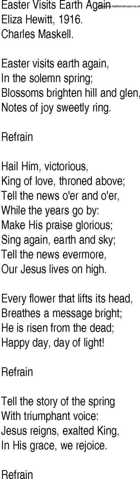 printable lyrics to easter parade contemporary easter songs christian images frompo