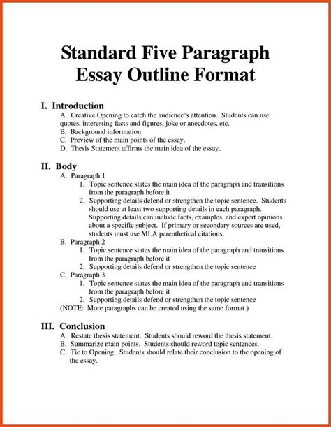 An Exle Of An Essay Outline by Outline Mla Format Moa Format