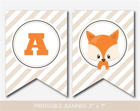 printable animal birthday banner woodland fox banner fox baby shower banner forest animal