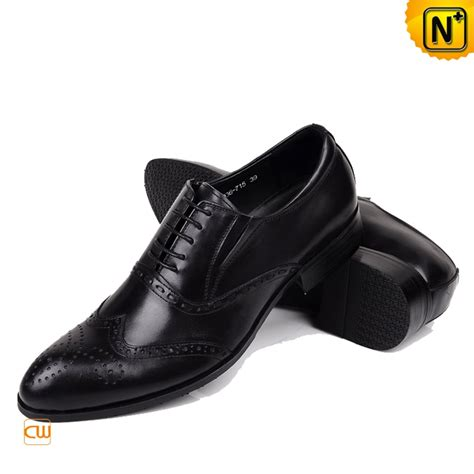 black italian leather brogue shoes for cw764075