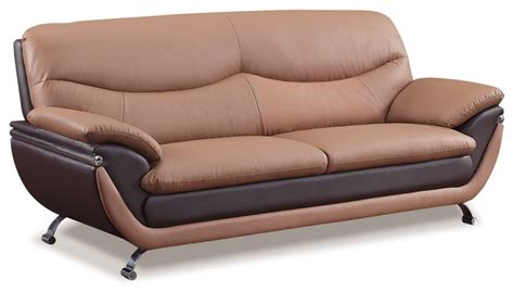 two tone leather sofa sofa in two tone brown bonded leather modern sofas
