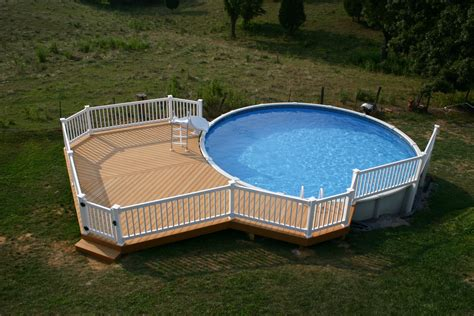 Deck Design Ideas For Above Ground Pools by Simple Above Ground Pool Decks Design Open Field White Fence