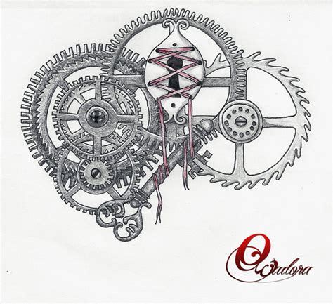 compass tattoo with gears steunk tatoo by owadora on deviantart