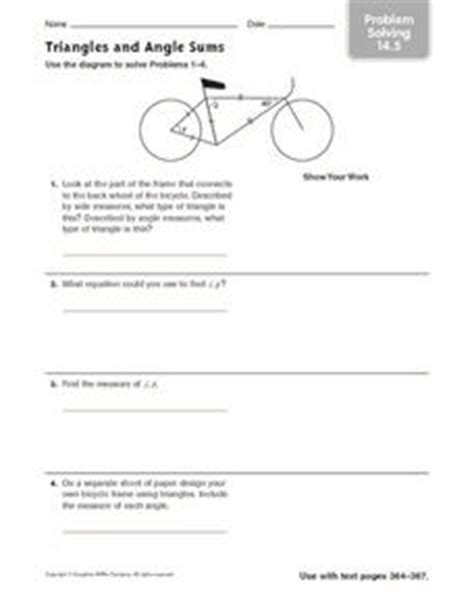 Angles Word Problems Worksheet by Triangles And Angle Sums Problem Solving 14 5 4th 7th
