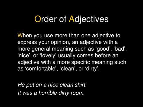 is comfortable an adjective order of adjectives