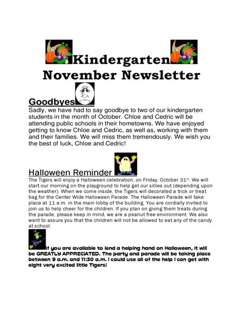 free november newsletter templates kindergarten november newsletter free