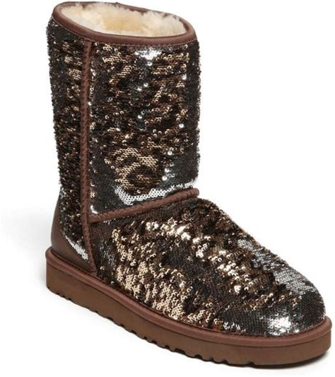 ugg sparkle boots ugg classic sparkle boot in brown leopard lyst