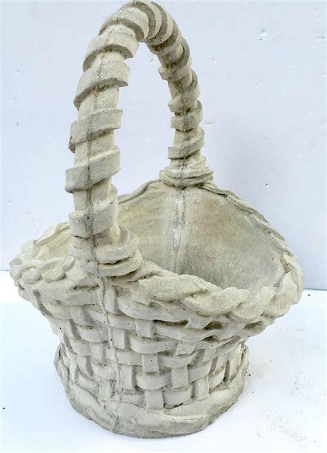 Concrete Basket Planter by Pair Of Concrete Basket Weave Basket Planters For Sale At
