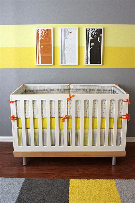 Crib Colors by Eric S Gray And Yellow Modern Nursery Project Nursery