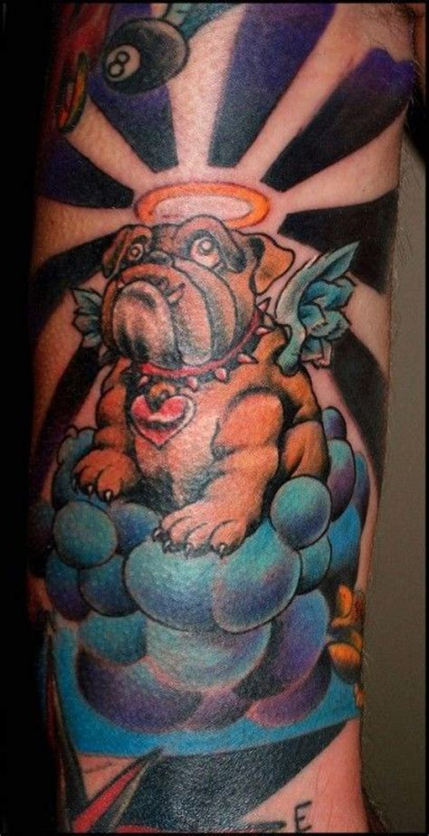 coloured angel tattoo coloured bulldog angel in heaven tattoo tattooimages biz