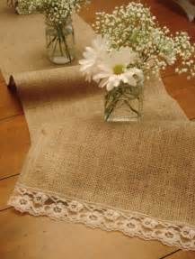 rustic table runner burlap and lace decor ideas
