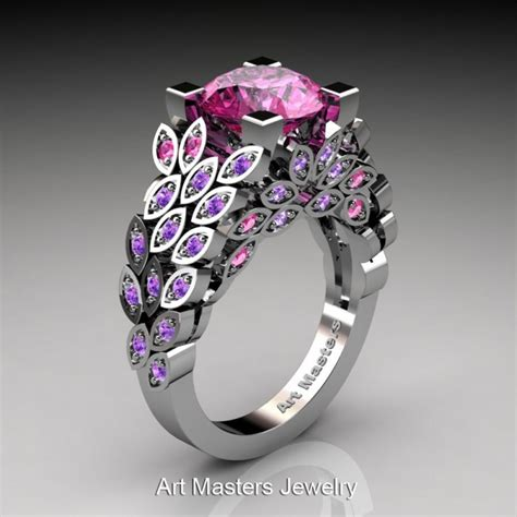 art masters nature inspired 14k white gold 3 0 ct pink