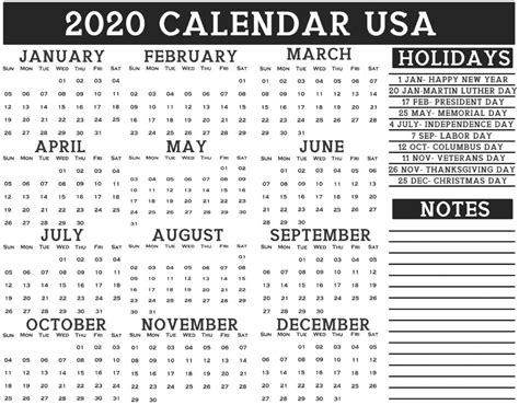 usa  calendar printable  calendar  federal holiday