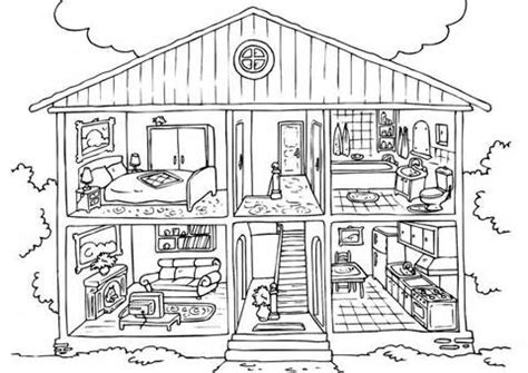 coloring pages of things inside a house room clipart house worksheet for kid pencil and in color