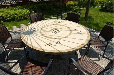 grande table 170 160 en mosa marbre ronde luxor