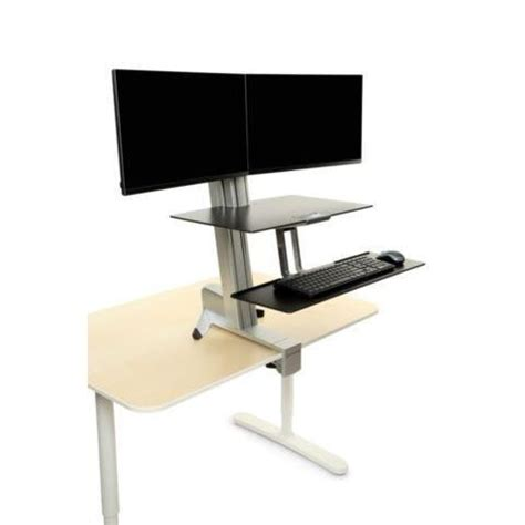 inmovement standard sit stand desk inmovement elevate desktop dt3 dual monitor front mount