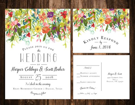 colorful wedding invitation templates bright bohemian wildflower wedding invitations printable or
