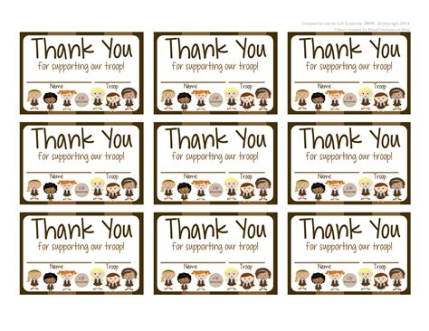 Scout Cookie Thank You Card Template by Fashionable Scouts Brownies Free Printable