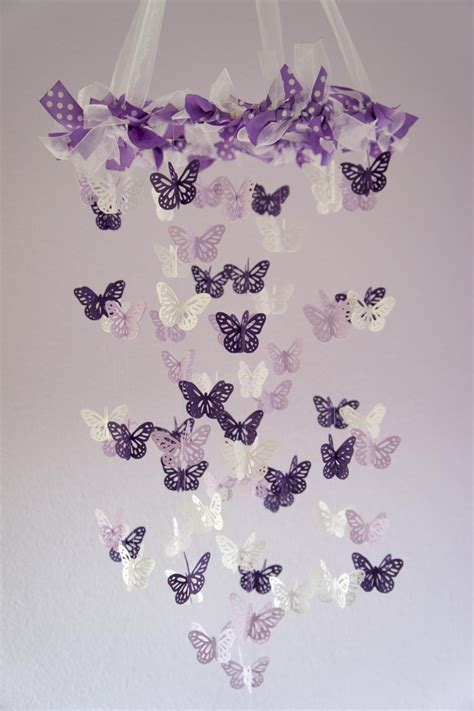 Lavender Nursery Decor Butterfly Mobile Purple Lavender Beautiful Butterfly Mobile And Paper Punch