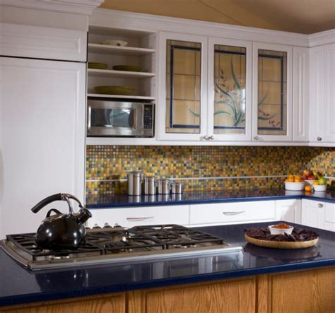 Kitchen Cabinet With Glass Door Stained Glass Door Kitchen Cabinets For Those Who A Dash Of Color