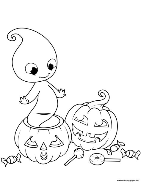 Cute Ghost From Jack O Lantern Halloween Coloring Pages