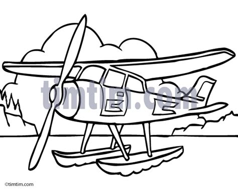 water plane coloring page free drawing of a sea plane bw from the category trains