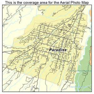 aerial photography map of paradise ca california