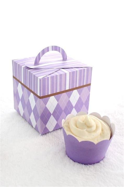cupcake gift card holder template purples argyle and stripes printable cupcake holder box