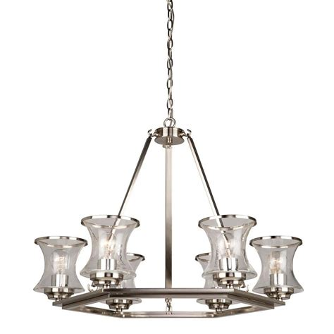 brushed nickel chandelier glomar 6 light brushed nickel chandelier with frosted