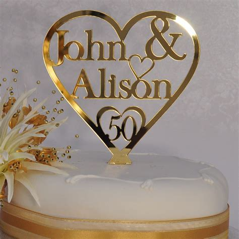 50th Golden Wedding Anniversary Personalised Names Heart