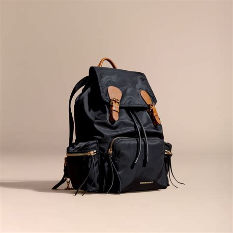 Longch Backpack Sz Large the rucksack backpack in technical and leather black burberry