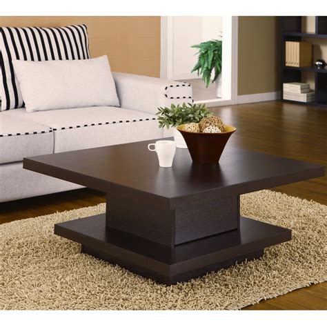 Square Cocktail Table Coffee Center Storage Living Room Wooden Living Room Tables