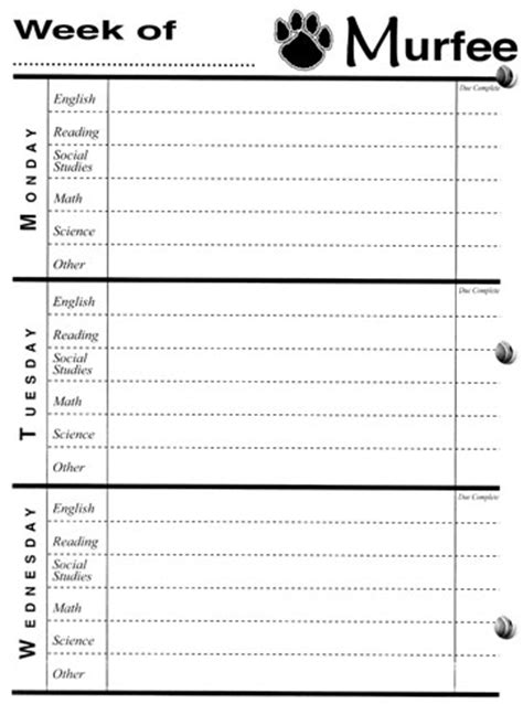 printable homework planner high school 7 best images of printable elementary planners homework