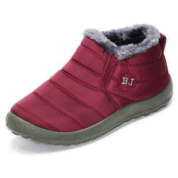 warm wool lining slip on flat ankle snow boots for