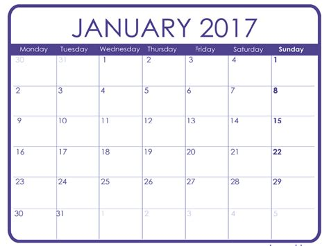 printable calendar january january 2017 printable calendar templates free printable