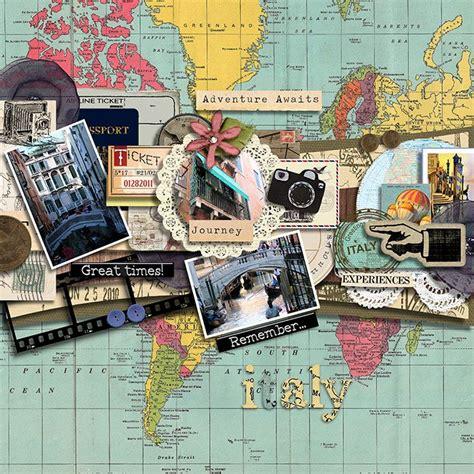 scrapbook layout ideas for travel 3 photos ephemera travel scrapbooking pinterest