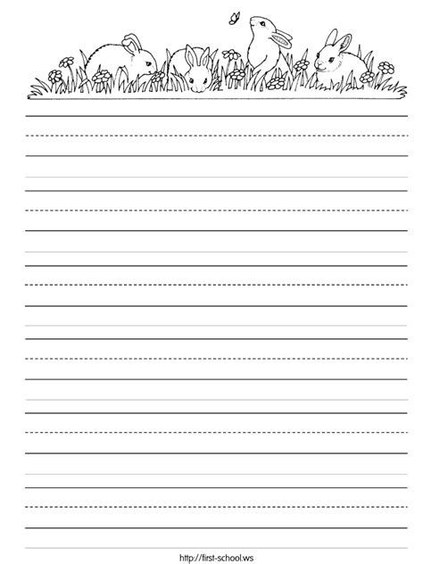 practice writing paper for kindergarten or easter bunny rabbit theme handwriting practice